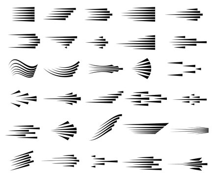 Speed lines icons. Set of fast motion symbols.