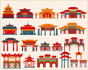 Set of Chinese temples, gates and traditional buildings on a white background.