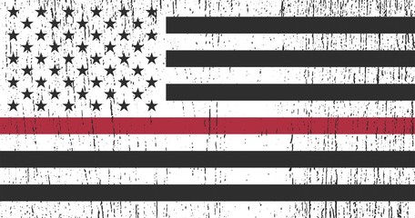 Flag of USA with Red Line - symbol firefighters