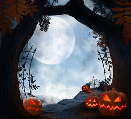 spooky halloween landscape with pumpkins, dark atmospheric mood with moon, can be used as background