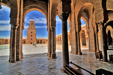 The Great Mosque of Kairouan also known as the Mosque of Uqba situated in the town of Kairouan, Tunisia.