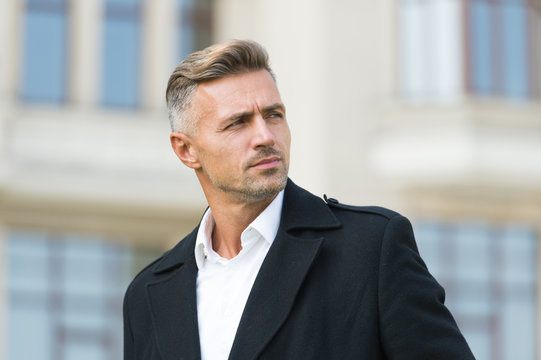 Businessman concept. Men get more attractive with age. Facial care and ageing. Traits and behaviors that make men more appealing. Attractive mature man. Mature guy with grey hair and bristle
