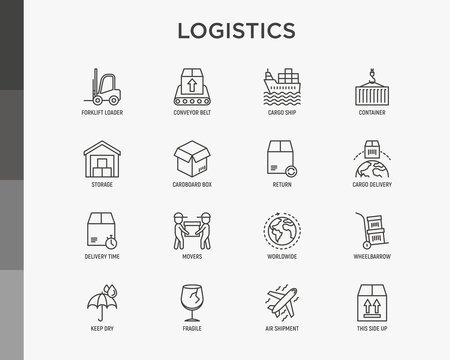Logistics thin line icons set: forklift loader, conveyor belt, container, storage, cardboard box, return, cargo delivery, mover, worldwide shipping, keep dry, fragile. Vector illustration.