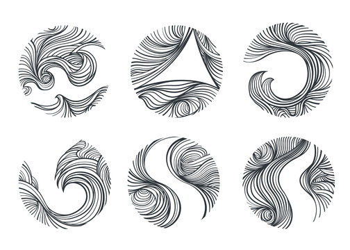 Wind and curl line art in circle and eclipse shape.