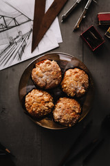 Overhead view of banana nut muffins on table