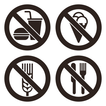 No food and drink, No ice cream, Gluten free and No eating allowed sign