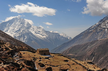 The highest mountains of the world are the Himalayas. Panorama of the highest mountains. Nepal.