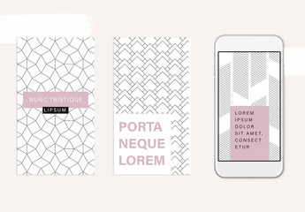 Social Media Story Layout Set with Abstract Pattern Elements