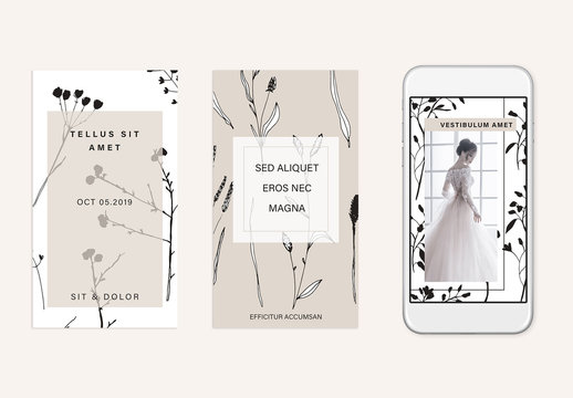 Social Media Story Layout Set with Nature Illustrations