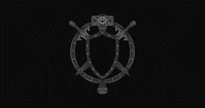 Warcraft Alliance Emblem, Warcraft Reforeged crest, World of Warcraft logo, Lordaeron symbol Royal crest for team. Shield, swords and mace weapons totem.