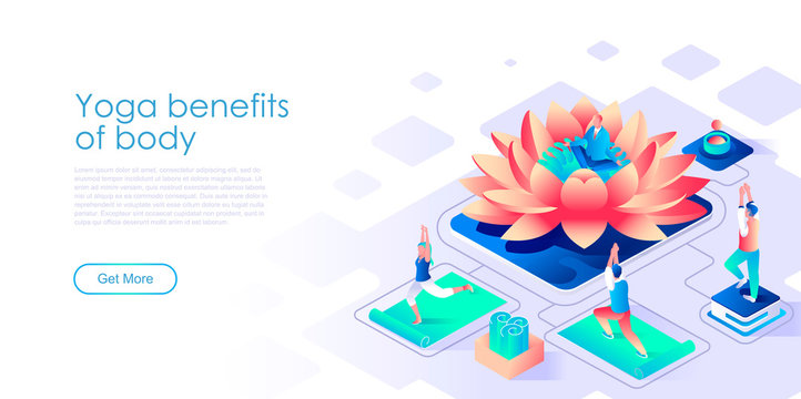 Yoga benefits for body isometric landing page vector template