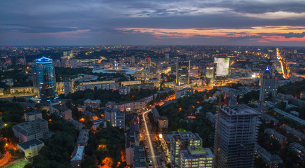 Fototapete - Kyiv cityscape at night, Ukraine