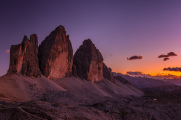 Picturesque Tre Cime di Lavaredo at sunset in the Sexten Dolomites, South-Tirol, Italy