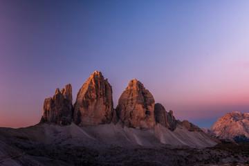 Tre Cime di Lavaredo in beautiful light at sunrise in the Sexten Dolomites, South Tyrol, Italy