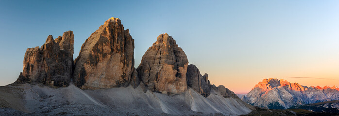 Panorama of Tre Cime di Lavaredo at sunrise in the Sexten Dolomites, South Tyrol, Italy