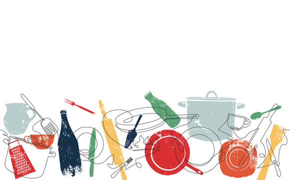 Background with Utensils. Cooking Horizontal Pattern. Vector illustration.