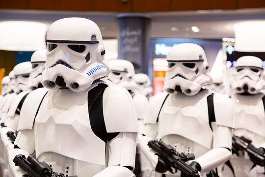 Dubai, United Arab Emirates - August, 2019: Stormtroopers from Star Wars movies in Dubai mall, Burj Khalifa in United Arab Emirates.