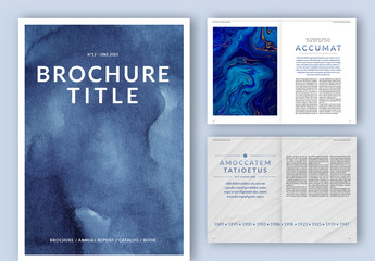 Brochure Layout with Blue Gradient Typographical Accents