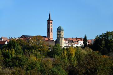 Stadtansicht mit Kirche in Friedberg