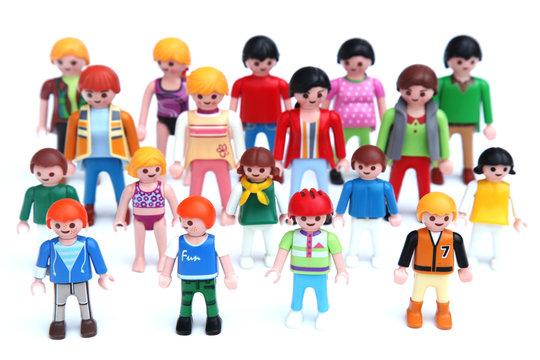 editorial image of colorful Playmobil figurines: teacher with school kids - circa 2016 - Louvain, Belgium