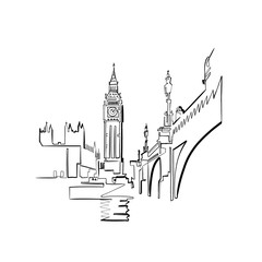 sketch of the city of London, continuous line, minimalist graphic art