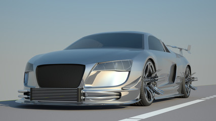 Silver Sports Car High Resolution 3d rendering