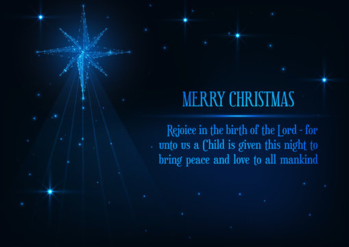 Merry Christmas greeting card with glowing low poly nativity Bethlehem star and religious phrase.