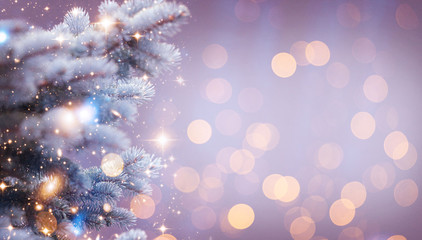 Christmas and New Year holidays background. Glitter lights backdrop. Winter season. Text space. Closeup of Christmas-tree. Elements of this Image Furnished by NASA. Fototapete