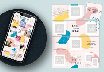 Social Media Grid Post Layout with Pastel Elements