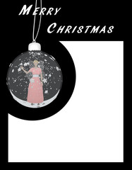 Weihnachtskarte mit Christbaumkugel und winkender Fee.