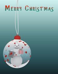 Weihnachtskarte mit Schneekugel und Schneemann. 3d illustration