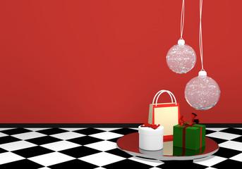 Hintergrundbild mit Christbaumkugeln und Geschenken.