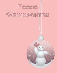 Weihnachtskarte mit Weihnachtskugel und Schneemann. 3d illustration