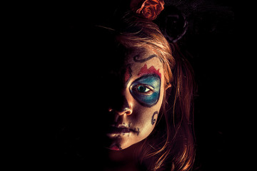 Spooky portrait of a girl. halloween party and the day of the dead concept