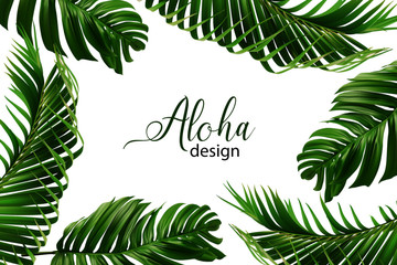 Wedding marriage event invitation card template. Exotic tropical rainforest jungle bright green palm trees Monsterra leaves border frame. Horizontal vector landscape layout. Wall mural
