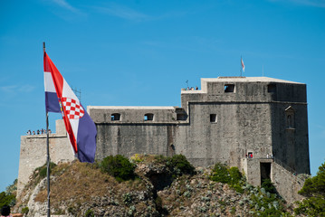 """Dubrovnic (Croatia): Fort Lovrijenac in as seen from the city wall.St. Lawrence Fortress, often called """"Dubrovnik's Gibraltar"""", is a fortress and theater outside the western wall of the city"""
