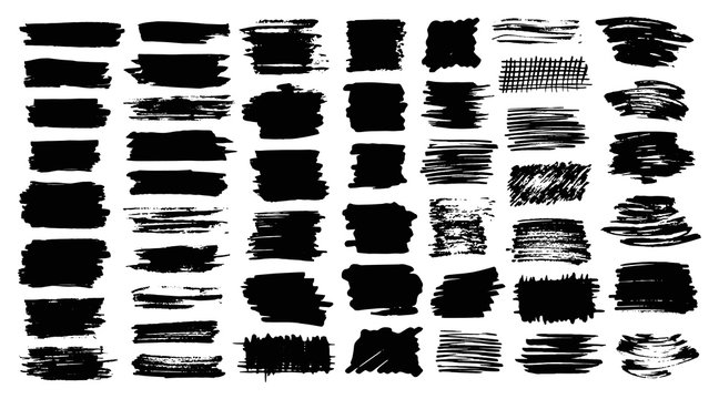 Set of brush strokes hand painted with black ink
