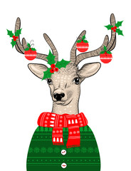 Hand drawn vector illustration of Christmas deer in green sweater on white background. Hipster in glasses and hat
