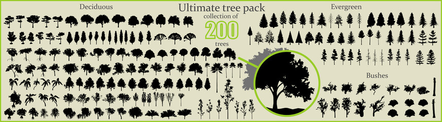 Even More Ultimate Tree collection, 200 detailed, different tree vectors	 Wall mural