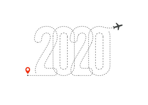 New year travel icon. 2020 Flight Map, Destination point with 2020 path in New Year trip logo concept. Isolated vector illustration.