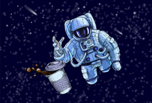 Astronaut trying to reach for cup of coffee