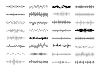 Fototapeta Set of waving, vibration and pulsing lines. Graphic design elements for financial monitoring, medical equipment, music app. Isolated vector illustration. obraz