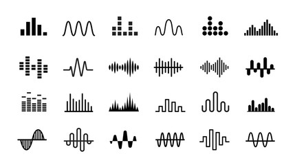 Set of Radio Wave icons. Monochrome simple sound wave on white background. Isolated vector illustration.