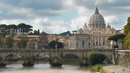 Vatican Papal Basilica San Pietro seen from Sant Angelo bridge
