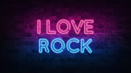 I Love Rock neon sign. purple and blue glow. neon text. Brick wall lit by neon lamps. Night lighting on the wall. 3d illustration. Trendy Design. light banner, bright advertisement