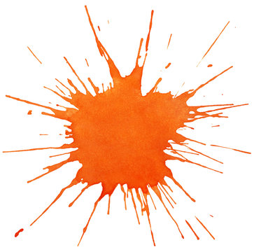 Blot of orange watercolor isolated on white background