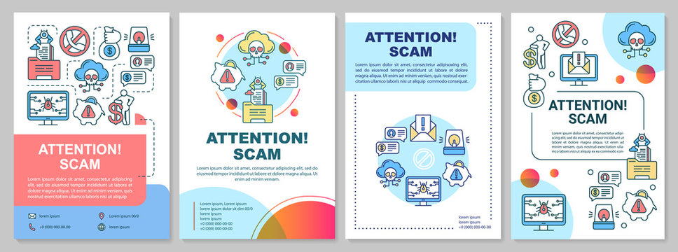 Attention scam brochure template. Fraud warning flyer, booklet, leaflet, cover design with linear illustrations. Stealing info. Internet crime. Vector page layouts for magazines, advertising posters
