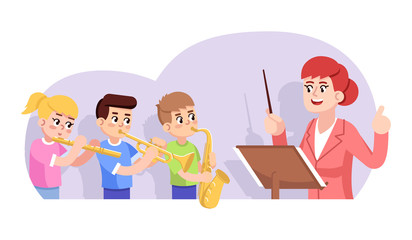 Rehearsal of children orchestra flat vector illustration. Kids ensemble. Music school performance. Art lesson. Girl and boys playing wind instruments, teacher conducting cartoon characters