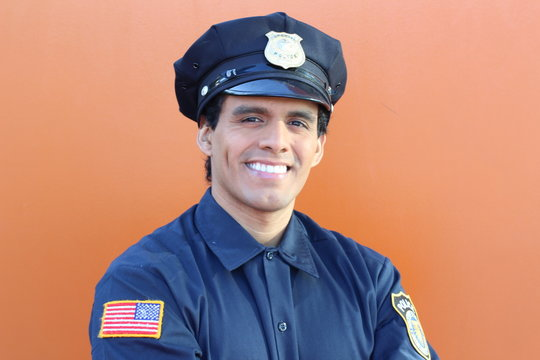 Ethnic American police officer with copy space