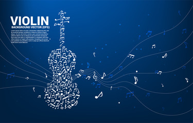 Vector music melody note dancing flow shape violin icon . Concept background for song and concert theme.